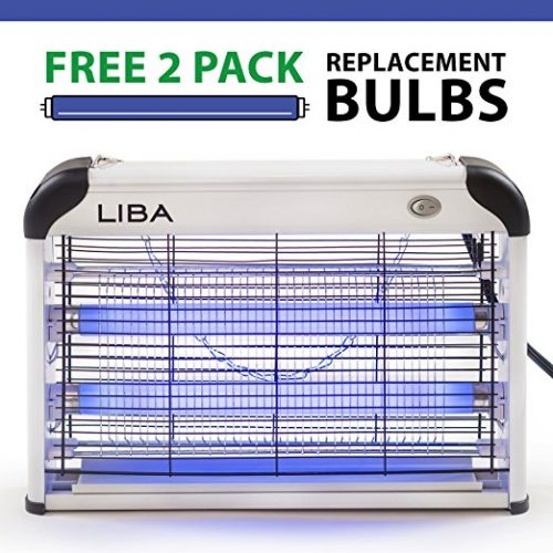 Bug Zapper & Electric Indoor Insect Killer by LiBa – Mosquito, Bug, Fly & Other Pests Killer – Powerful 2800V Grid 20W Bulbs – Free 2-Pack Replacement Bulbs Included - Bug Zappers
