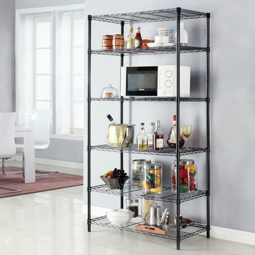 LANGRIA 6 Tier Shelving Units Wire Storage Rack Freestanding Heavy Duty Extra Large Wire Rack for Garage Kitchen Workshop, 661 lbs Weight Capacity, 35.4''x17.7''x78.7'', Black - collapsible storage rack