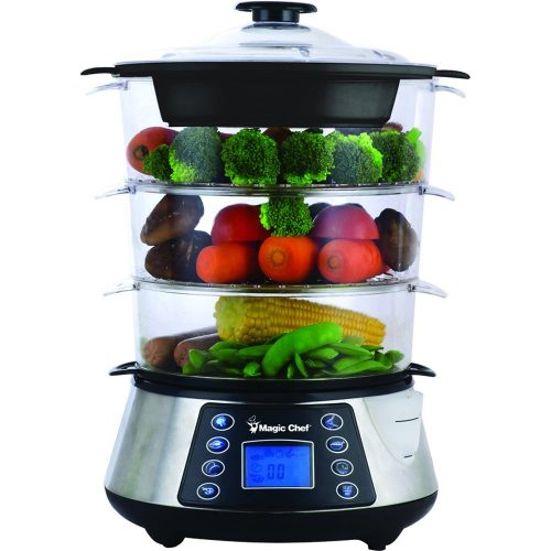 Magic Chef MCSFS12ST 3 Tier Food Steamer, Stainless Steel - Electric Vegetable Steamers