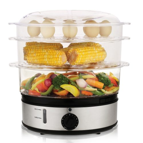 MeyKey MK5159 Healthy Food Steamer with Timer, 9.5 Quart 3-Tier Electric Steamer 800W - Electric Vegetable Steamers