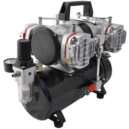NEW Quiet 1/6 hp MASTER AIRBRUSH TANK COMPRESSOR-(FREE) AIR HOSE and Now a (FREE) How to Airbrush Training Book to Get You Started, Published Exclusively By TCP Global - Airbrush Compressors
