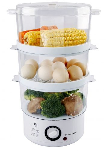 Ovente FS53W 7.5-Quart 3-Tier Electric Vegetable and Food Steamer, White - Electric Vegetable Steamers