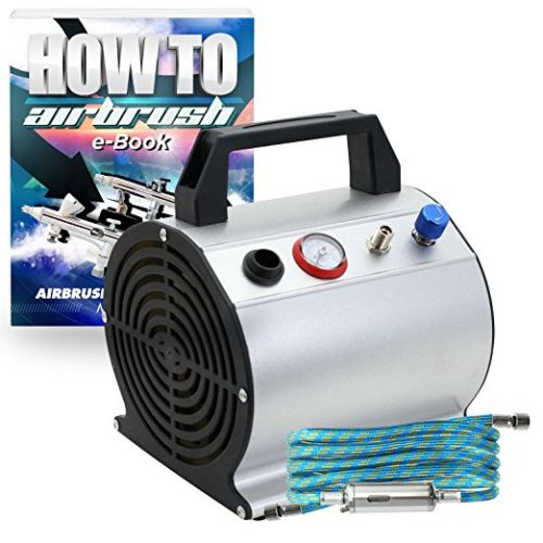 PointZero Low Noise Oil-Less Airbrush Air Compressor with 6 ft. Hose 1/6 HP - Airbrush Compressors