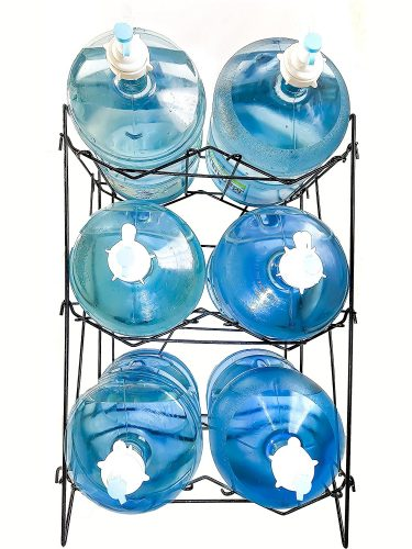 Stainless Steel 5 Gallon Water Bottle Rack Holder Shelves 6 Jugs Storage Heavy Duty Collapsible 60 Days 100% Risk Free (3 Shelves) - collapsible storage rack