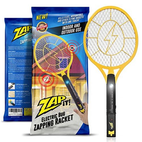 Zap-It! Bug Zapper - Rechargeable Mosquito, Fly Killer and Bug Zapper Racket - 3000 Volt - USB Charging, Super-Bright LED Light to Zap in the Dark - Unique 3-Layer Safety Mesh That's Safe to Touch - Bug Zappers