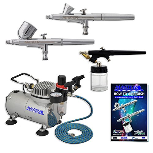Master Airbrush Multi-purpose Professional Airbrushing System with 3 Airbrushes, 6' Air Hose &Airbrush Holder, Training Book
