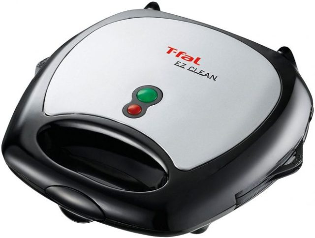 T-fal SW6100 EZ Clean Easy to Clean NonstickSandwich and Waffle Maker with RemovableDishwasher Safe Plates, 2-Slice, Silver