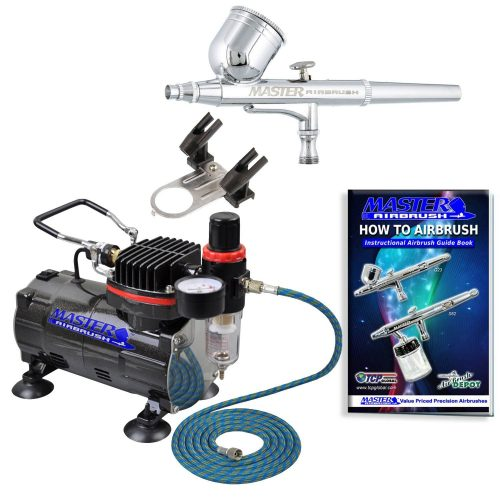 Master Airbrush Multi-purpose Gravity Feed Dual-action AirbrushKit with 6 Foot Hose and a Powerful 1/5hp Single Piston Quiet Air Compressor