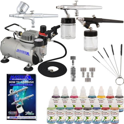 Master Airbrush ABD KIT-WBFP- 16-20 ArtProfessional Airbrush Face and Body Art Paint Airbrushing System Kit with Standard Compressor (09 Items)