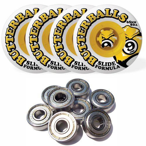 Sector 9 Butterballs Slide Formula 65MM 80A Longboard Wheels Set of 4 WITH BEARINGS
