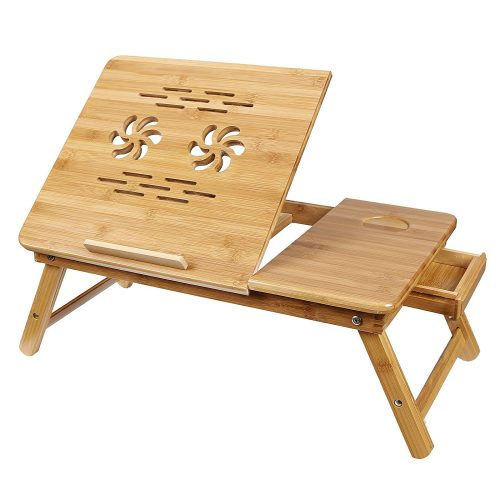 SONGMICS Bamboo Lap Desk Adjustable Breakfast Serving Bed Tray