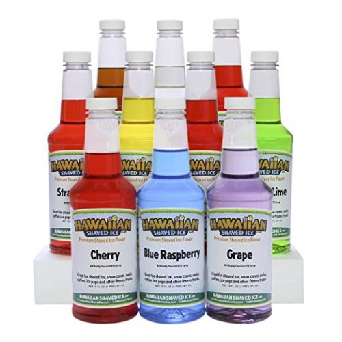 Hawaiian Shaved Ice 10 Flavor Syrup Package | Pack Includes 10 Snow Cone Syrup Flavors (16oz. Each) | Best Snow Cone Sample Pack | For Household or Commercial Use