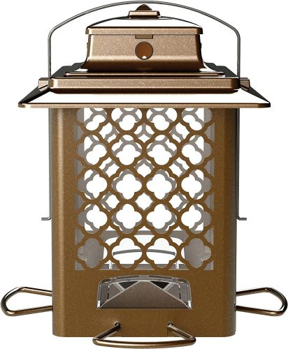 More Birds Bird Feeder, Hopper Bird Feeder, Large Seed Capacity 3.6 lb, 4 Feeding Ports, Copper Finish