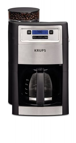 KRUPS KM785D50 Automatic Programmable Grind and Brew Coffee Maker with integrated Burr Grinder and Keep Warm, Black - coffee maker