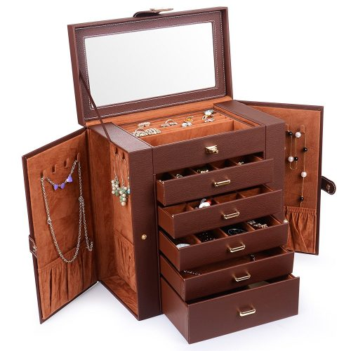 Kendal Huge Leather Jewelry Box/ Case/ Storage LJC-SHD5 (Brown)