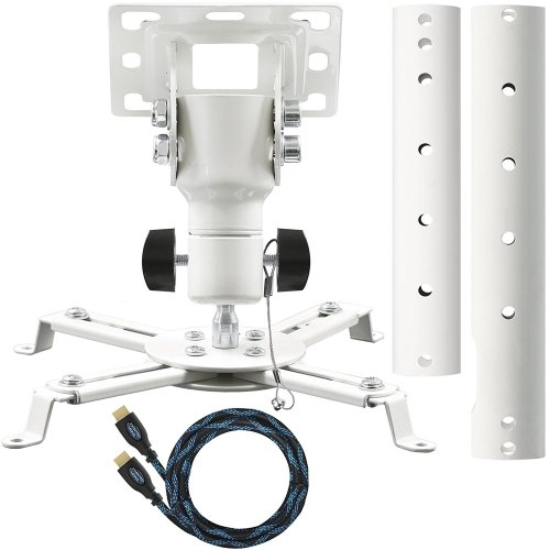 "Cheetah Mounts APMEB Universal Projector Ceiling Mount Includes a 27"" Adjustable Extension Pole and a Twisted Veins 15' HDMI Cable"