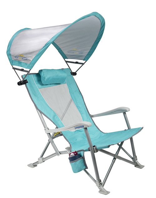 GCI Waterside SunShade Folding Beach Recliner Chair with Adjustable SPF Canopy - Reclining Beach Chair