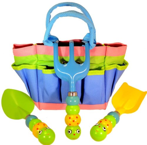 "Kids Garden Tool Set with Tote, Tools Handles Made As "" Cute Bugs """