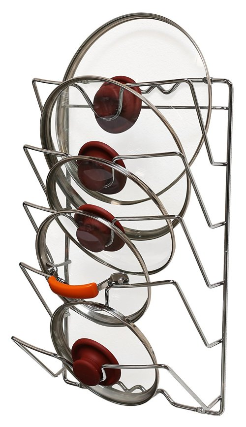 DecoBros Wall Door Mounted Pot Lid Rack, Chrome Finish