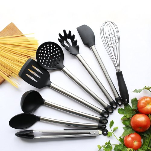 8 Piece kitchen utensils set of Stainless Steel and Black Silicon