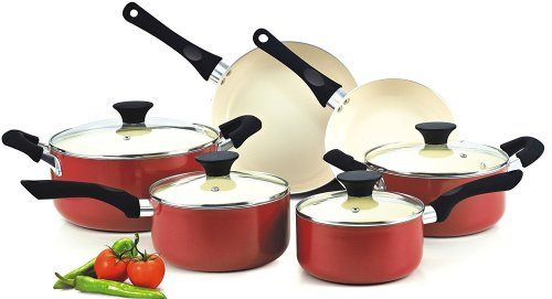 Cook N Home NC-00359 Nonstick Ceramic Coating 10-Piece Cookware Set, Red - Non-Stick Cookware