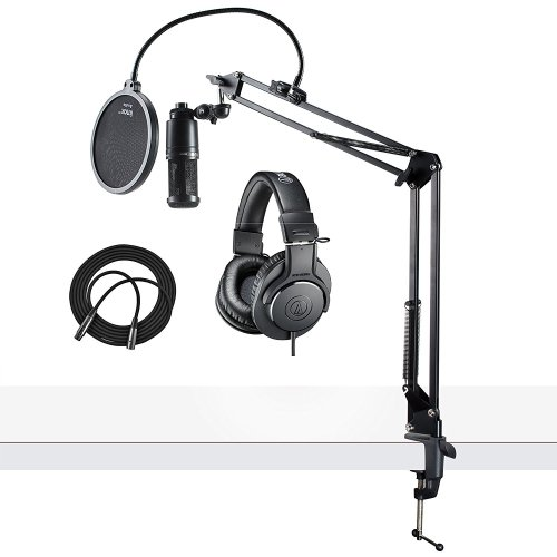 Audio-Technical AT2020 Microphone w/ ATH-M20x Headphones, Knox Pop Filter & Boom Arm