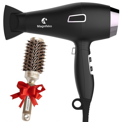 Ionic Hair Dryer with FREE Ceramic Blowdrying Brush | Anti-Frizz blow dryer with Extra-Fast 1875W Motor and Concentrator Nozzle | Professional Hairdryer for Men and Women