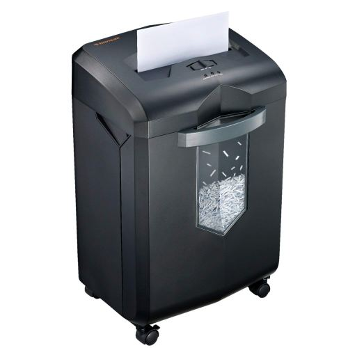 Bonsaii EverShred C149-C 18-Sheet Heavy Duty Cross-Cut Paper/CD/Credit Card Shredder with 6 Gallon Pullout Basket and 4 Casters, 60 Minutes Running Time, Black - Paper shredder