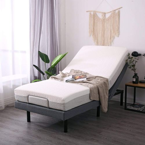 Leisuit Adjustable Bed Frame with Back & Foot Messager | Wireless Remote Control & USB Port & Under-bed Lighting | Twin XL