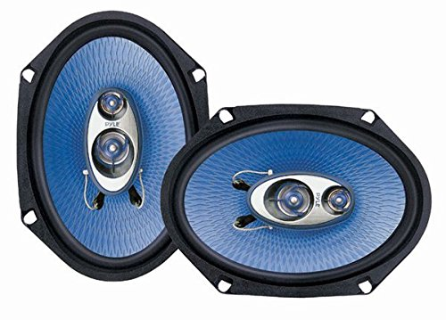 "6"" x 8"" Car Sound Speaker (Pair) - Upgraded Blue Poly Injection Cone 3-Way 360 Watts w/Non-fatiguing Butyl Rubber Surround 70-20Khz Frequency Response 4 Ohm & 1"" ASV Voice Coil - Pyle PL683BL"