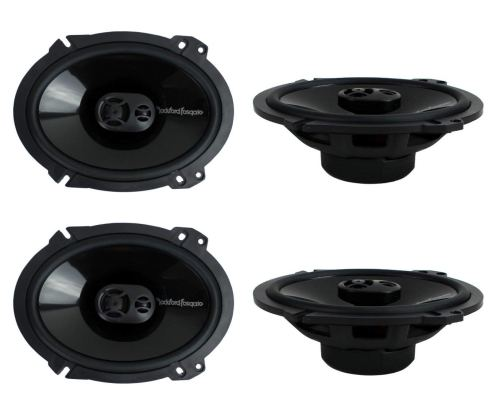 "4) New Rockford Fosgate P1683 6x8"" 260 Watt 3 Way Car Coaxial Speakers Audio"