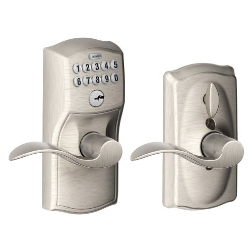 Schlage FE595VCAM619ACC Camelot Keypad Entry with Flex- Lock and Accent Levers, Satin Nickel