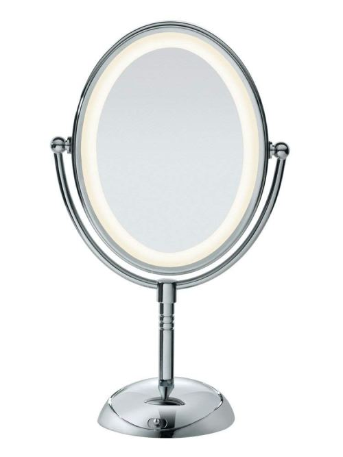 Conair Double-Sided Lighted Makeup Mirror - Lighted Vanity Makeup Mirror with LED Lights; 1x/7x magnification; Polished Chrome Finish
