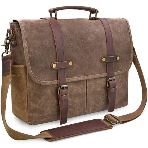 Mens Messenger Bag 15.6 Inch Waterproof Vintage Genuine Leather Waxed Canvas Briefcase Large Satchel Shoulder Bag Rugged Leather Computer Laptop Bag, Brown - Men business leather bag