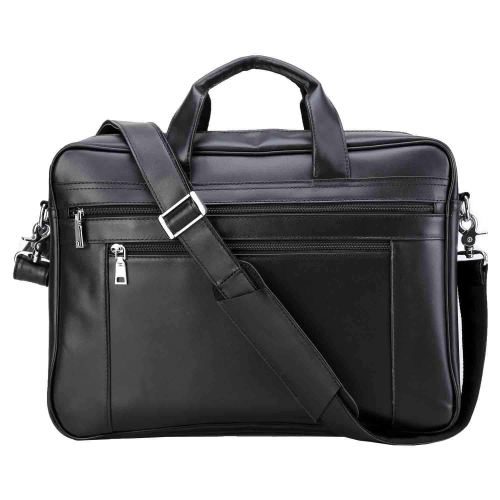 Polare Men's Full Grain Leather 17.7'' Briefcase Laptop Business Bag Black