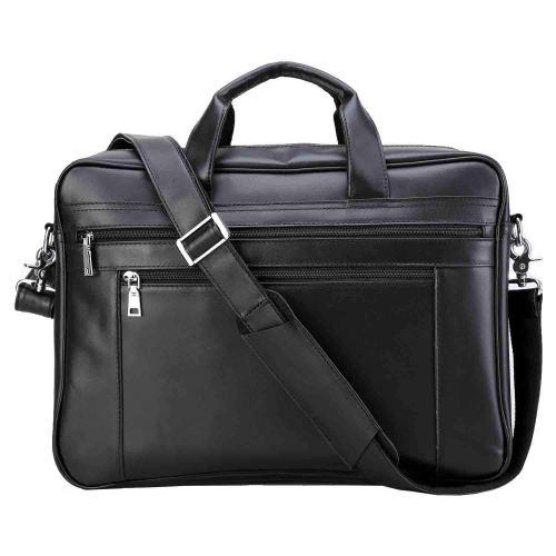 Polare Men's Full Grain Leather 17.7'' Briefcase Laptop Business Bag Black