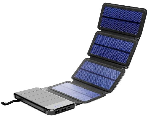 Solar Phone Charger 10.000mAh Power Bank-Portable Smartphone & iPhone Battery + Emergency Flashlight–(2) USB Ports+(4) Foldable Solar Panels-Fast Charging Smart IC Hiking Camping
