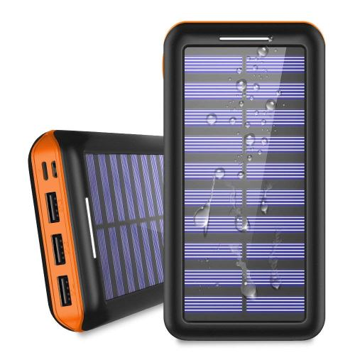 Portable Charger 24000mAh Solar Power Bank, 2 Input & 3 Output USB Phone Charger,ALLSOLAR External Battery Pack, iSmart 2.0 Tech Fast Charging for iPhone,iPad & Samsung Galaxy & More – Orange