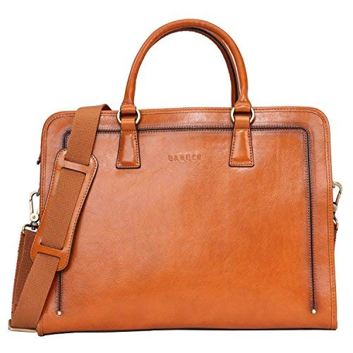 Banuce women's full grains leather briefcase messenger satchel bag 14 laptop case