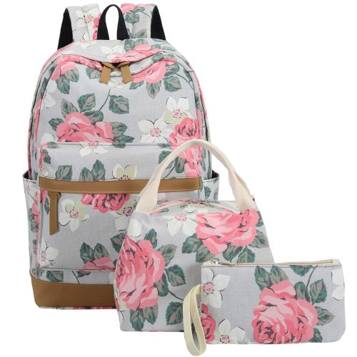 """BLUBOON School Backpack Set Canvas Teen Girls Book bags 15"""" Laptop Backpack Kids Lunch Tote Bag Clutch Purse"""