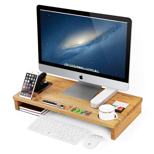 SONGMICS Bamboo Wood Monitor Stand Computer Riser with Storage Organizer Office Desk Laptop Cellphone TV Printer Desktop Container Natural ULLD201