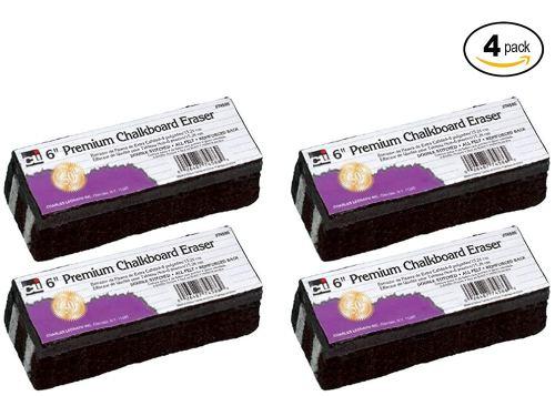 Charles Leonard Chl74586 Premium Chalkboard Eraser Set - 4 pack Bundle Kit
