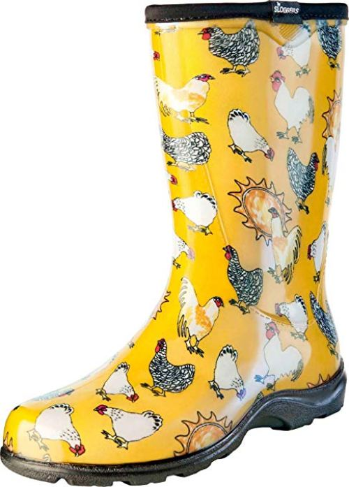 Sloggers Women's Waterproof Rain and Garden Boot with Comfort Insole, Chickens Daffodil Yellow, Size 9, Style 5016CDY09