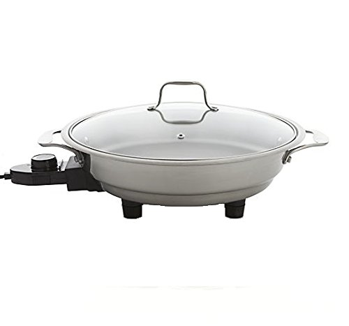 """Electric Skillet By Cucina Pro - 18/10 Stainless Steel with Tempered Glass Lid, 12"""" Round"""
