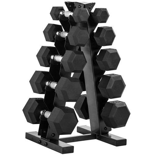 CAP Barbell 150-lb Rubber Hex Dumbbell Weight Set, 5-25 Lbs with Rack