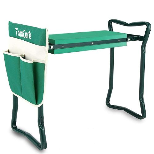 "TomCare Garden Kneeler Seat Garden Bench Garden Stools Fordable Stool with Tool Bag Pouch EVA Foam Pad Outdoor Portable Kneeler for Gardening(Large-21.65"" x 10.62"" x 18.89"",Green)"