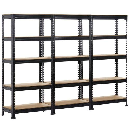 Topeakmart 3 pack Heavy Duty 5 Tier Commercial Industrial Racking Garage Shelving Unit