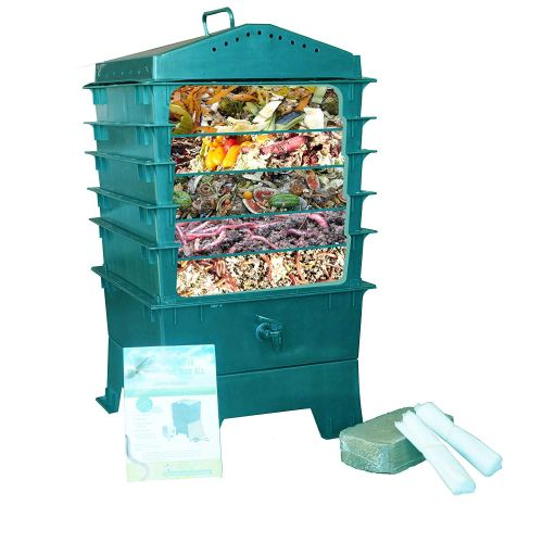 VermiHut 5-Tray Worm Compost Bin, Dark Green