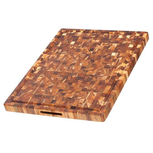 Teakhaus Teak Cutting Board - Rectangle Butcher Block With Juice Canal And Hand Grips