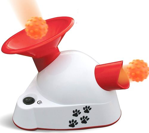 Kleeger Automatic Dog Ball Fetcher Talking Trainer Toy | Dog Ball Launcher / Thrower For Indoor Or Outdoor Use| Interactive Ball Fetching Machine with 3 Small Balls. For Small Dogs & Puppies Only.